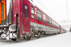 Train who arrived during a snow storm Stock Photography