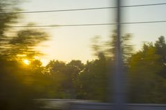 Train window in dynamics. View from the train window in dynamics stock photography