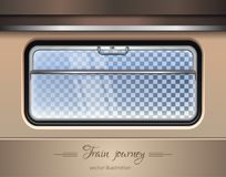 Train window. Vector illustration. Train window. Window of the train on a transparent background with the ability to change the landscape outside the window Stock Image