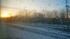 Train window winter rain. Train window view snow winter rain stock video footage