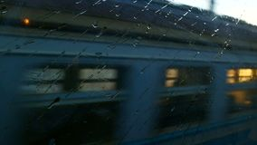 Train window winter rain stock video footage