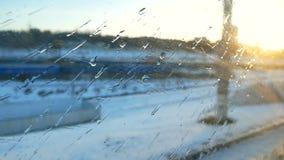 Train window winter rain. Train window view snow winter rain stock video