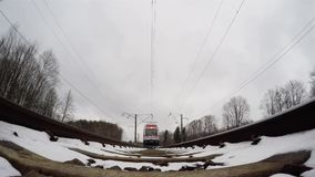 Train in winter bottom stock video