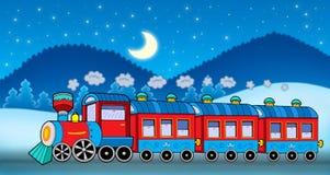 Train in winter landscape. Color illustration Stock Images
