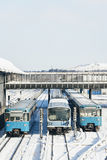 Train in the Winter Landscape of Munich. Train Station stock photo
