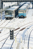 Train in the Winter Landscape of Munich. Train Station royalty free stock photo