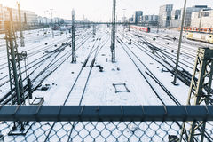 Train in the Winter Landscape of Munich. Train Station stock images