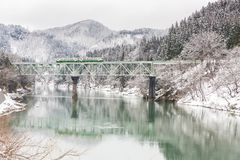 Train in Winter landscape snow royalty free stock image