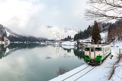 Train in Winter landscape snow stock image