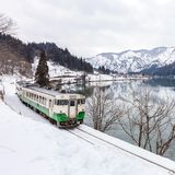 Train in Winter landscape snow royalty free stock photography