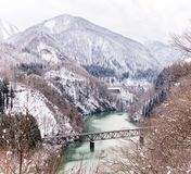 Train in Winter landscape Royalty Free Stock Images