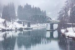Train in Winter landscape Royalty Free Stock Photo