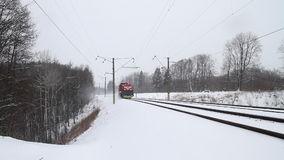 Train in winter stock footage