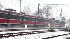 Train in winter stock footage