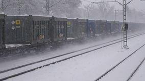 Train in winter with snow. Train in the winter with snow stock video footage