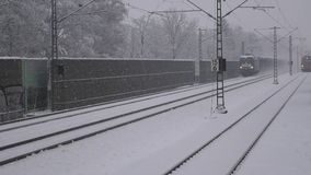 Train in winter with snow. Train in the winter with snow. Transportation in winter time stock footage