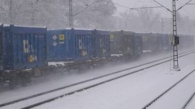 Train in winter with snow. Train in the winter with snow. Transportation in winter time stock video footage