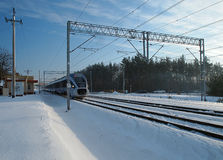 Train on the winter trail. Stock Photo