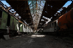Train wreck in an abandoned warehouse Royalty Free Stock Photos