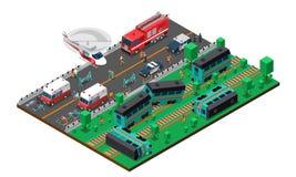 Train Wreck Isometric Design Stock Image