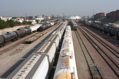 Train yard. Long Beach port train yard with many industrial trains Royalty Free Stock Photography