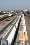 Train yard. Long Beach port train yard with many industrial trains Stock Photo
