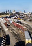 Train Yard. Train yard showing Fort Worth ,Texas skyline royalty free stock image