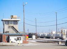 Train yard with control tower Royalty Free Stock Photo