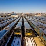 Train yard New York City. (Long Island Rail Road Royalty Free Stock Photos