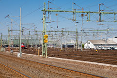 Train yard in sweden. Train yard in gothenburg sweden in summer Stock Image
