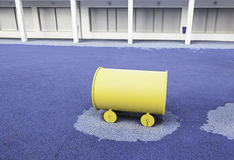Train yellow toy in a playground Stock Image