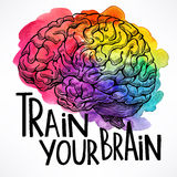 Train your brain. Beautiful card with a human brain and motivational quote. hand-drawn illustration Royalty Free Stock Photography