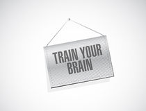 Train your brain hanging sign concept Royalty Free Stock Images
