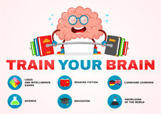 Train your brain infographic . brain vector cartoon flat illustration fun character creative design. education,science,smart, brai Stock Image