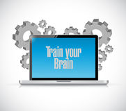 Train your brain laptop computer sign concept Royalty Free Stock Image