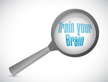 Train your brain magnify search sign concept Stock Image
