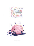 Train your brain poster with lettering, body up. Train your brain, body up, poster - the vector illustration of a training brains activity with lettering Train Stock Photography