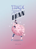 Train your brain poster with lettering, dumbbells exercises Stock Images