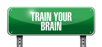 Train your brain street sign concept. Illustration design Stock Photography