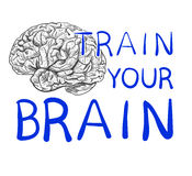`Train your brain` text with hand drawn brain sketch. VECTOR illustration, blue handwritten letters. `Train your brain` text with hand drawn brain sketch Royalty Free Stock Image