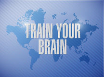 train your brain world map sign concept Stock Images