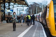 Train from Zwolle arrives in Kampen stock photo