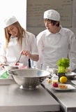 Trainee chefs working together in commercial kitchen Royalty Free Stock Photography