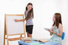 Trainee confidently answers lesson Royalty Free Stock Image