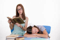 Trainee fell asleep during the lesson Royalty Free Stock Photo