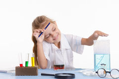 Trainee pleased with the result obtained in chemistry class Stock Images
