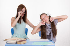 Trainee stretches waking in the classroom Royalty Free Stock Photography