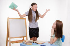 Trainee with strong gestures answers lesson Stock Photo