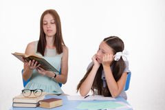 Trainee teacher listens thoughtfully Stock Images