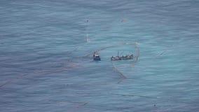 Traineiras da pesca na água do mar aberta com redes de pesca em Taiwan Silhueta do homem de neg?cio Cowering vídeos de arquivo